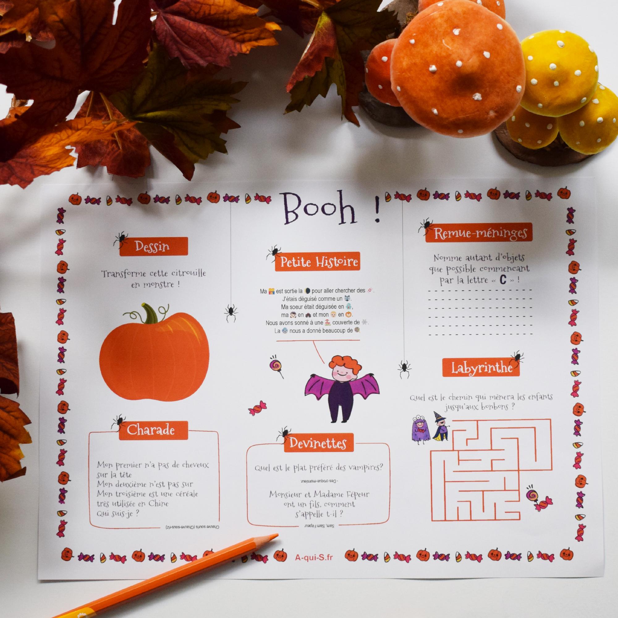 Décoration d'Halloween pour enfant : un set de table avec jeux pour les occuper avant la récolte de bonbons !