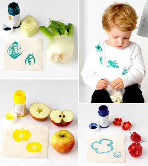Tampon avec fruits et légumes