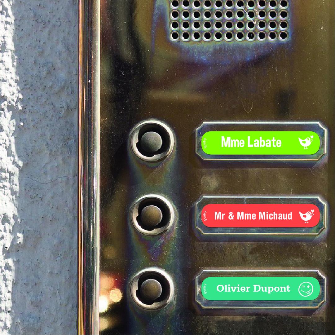 Étiquettes pour interphones et sonnettes à personnaliserA-qui-S®