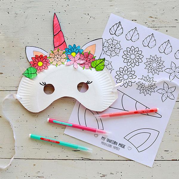 Unicorn and panda masks printables