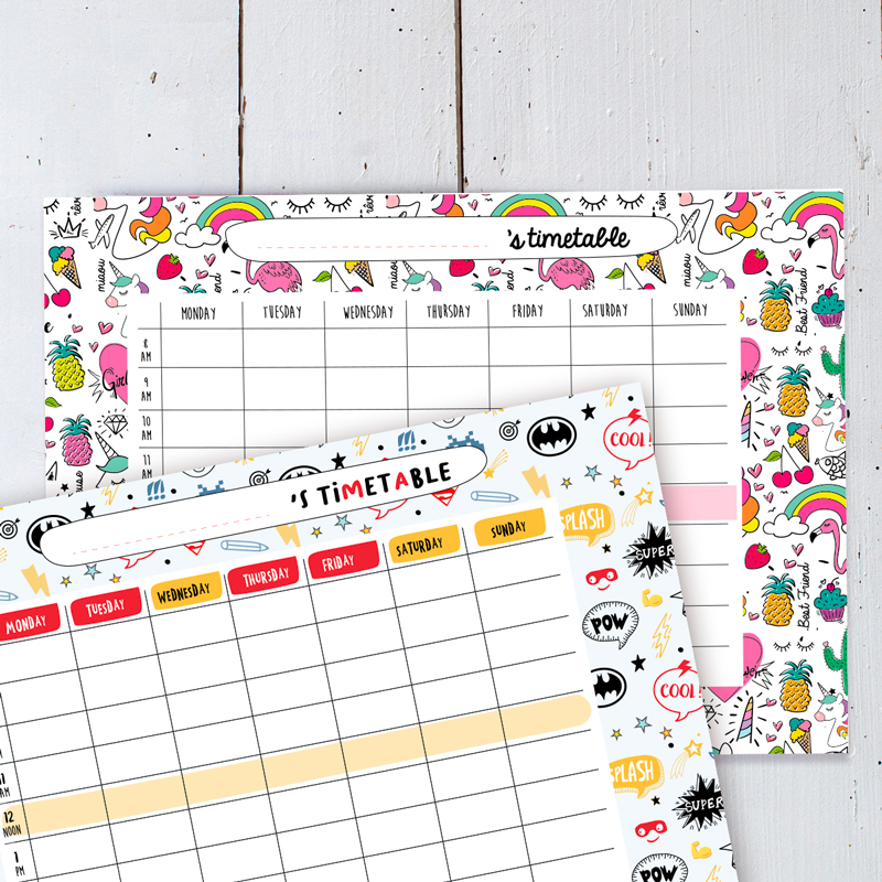 BACK TO SCHOOL time table free printables